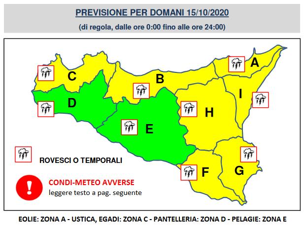 allerta gialla sicilia 15 ottobre