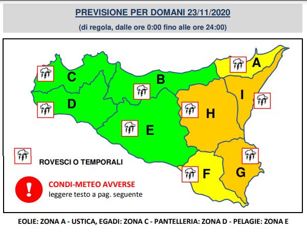 Meteo Catania allerta arancione bollettino Sicilia