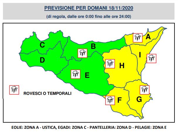 Meteo Catania allerta gialla Sicilia