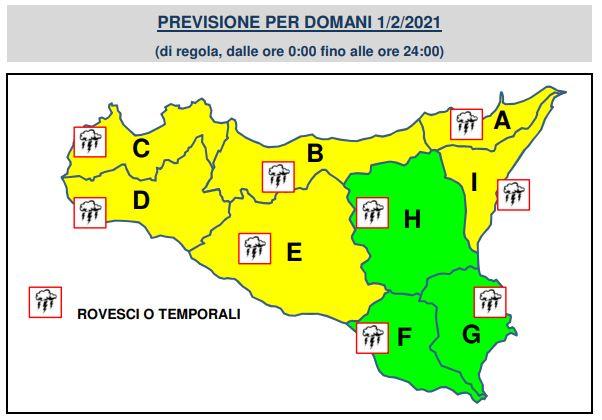 meteo sicilia allerta gialla 1 febbraio