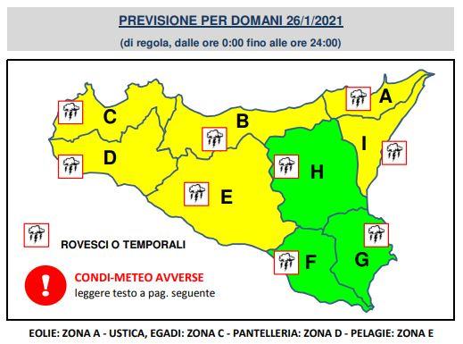 meteo sicilia domani allerta gialla bollettino