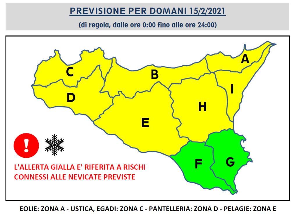 meteo sicilia allerta gialla domani neve