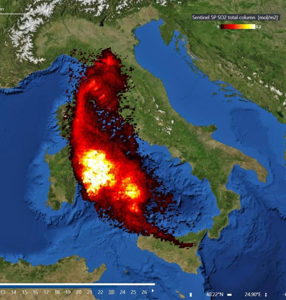 Etna cenere roma