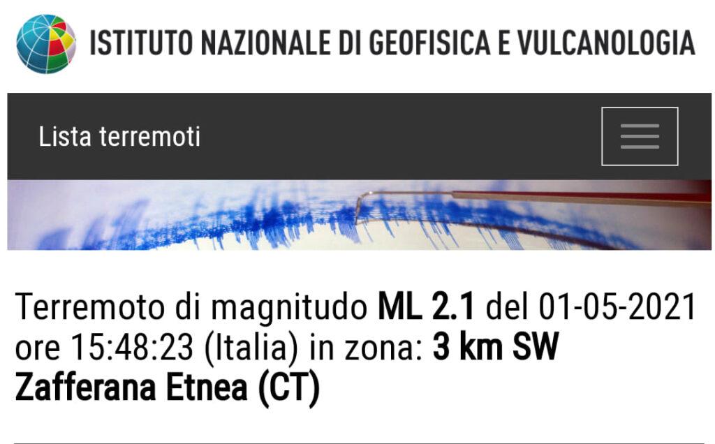 terremoto catania zafferana etnea ingv