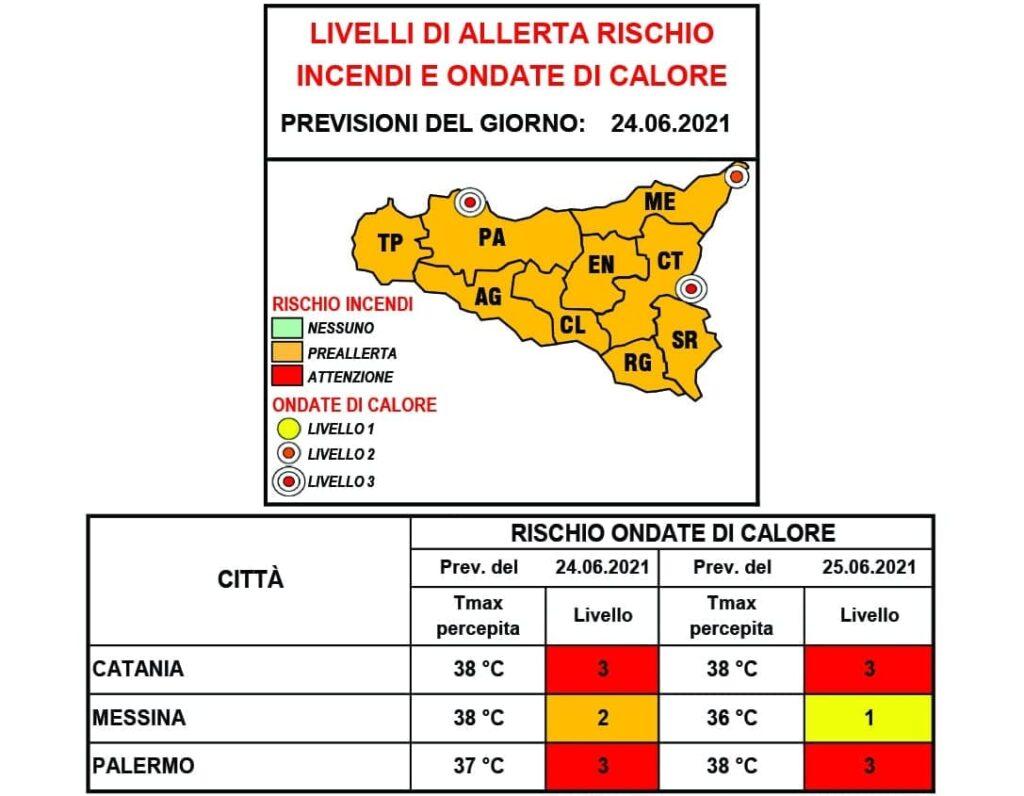 allerta caldo Sicilia 24 25 giugno