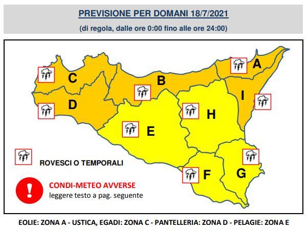 allerta arancione sicilia 18 luglio