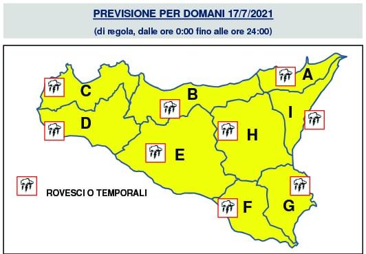 allerta gialla meteo sicilia domani 17 luglio