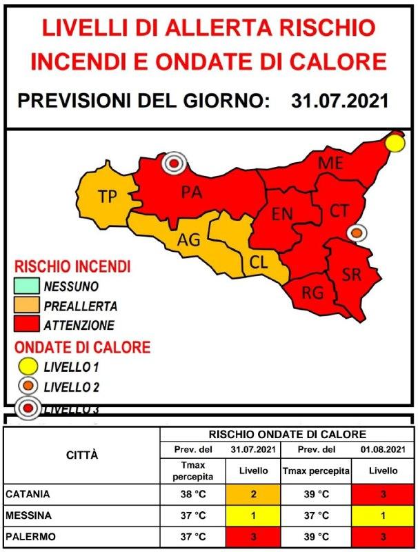 allerta rossa sicilia 31 luglio