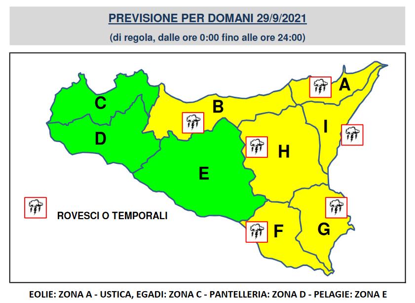 allerta gialla meteo sicilia 29 settembre