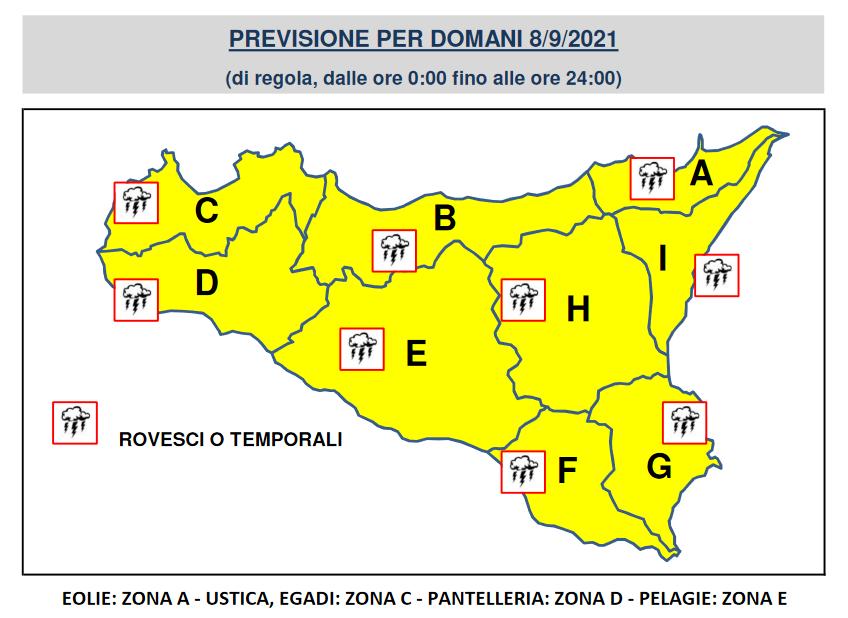 allerta gialla meteo sicilia 8 settembre