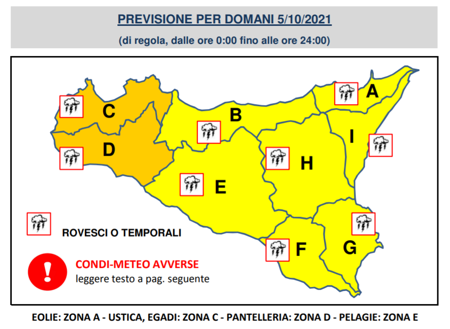 allerta meteo arancione sicilia 5 ottobre